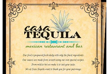 Casa Tequila Menu
